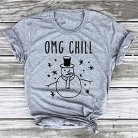 Summer Hipster Casual Style Tee OMG Chill Snowman Frosty Christmas T-Shirt Holiday Party Christmas Vintage Grunge Tops t shirts