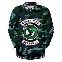 3D USA Hot TV Show Riverdale SOUTH SIDE SERPENTS Snake Army Green Men's Baseball Jackets Women/Men Casual Sweatshirt Hoodies 4XL