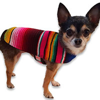 Dog Clothes - Handmade Dog Poncho from Authentic Mexican Blanket by Baja Ponchos (Pink No Fringe, X-Small )