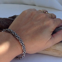 Tiny Stainless Steel Byzantine Chainmaille Bracelet - Ready to Ship