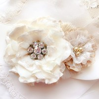 Floral Wedding Sash ~ Pearl and Rhinestone
