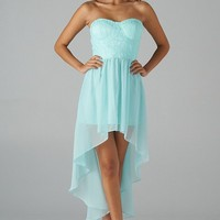 Mint Strapless Hi-Lo Dress with Lace Bodice Top