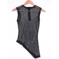 Fashionable Fitted Scoop Neck Asymmetric Voile Top For Women