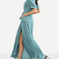 Blue Deep V Neck Wrap Long Dress -SheIn(Sheinside)