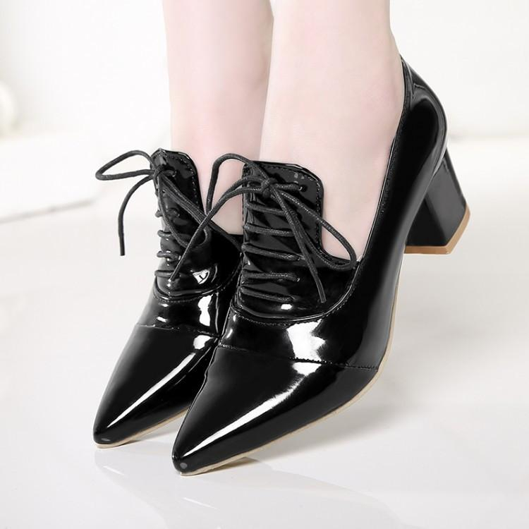 Image of Women Pumps High Heels Thick Heel Patent Leather Lace Up Pointed Toe Shoes Woman 3432