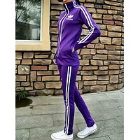 """Adidas"" Fashion Casual Stripe Clover Print Long Sleeve Cardigan Set Two-Piece Sportswear"