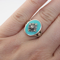 Vintage Silver Teal Marcasite Ring - 925 ND