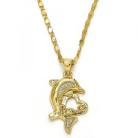 Gold Layered 04.156.0128.20 Pendant Necklace, Dolphin and Love Design, with Garnet and White Micro Pave, Polished Finish, Golden Tone