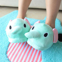 Mint Color Cute Circus Elephant Slippers [1389]