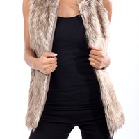 Womens Winter Warm Fashion Faux Fur Long Sleeveless Vest Jacket Coat Waistcoat