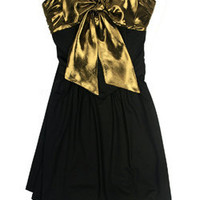 Whitney Eve - Black/Gold Bow Dress