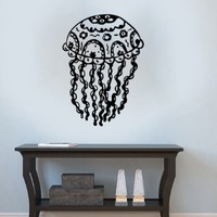Jellyfish Deep Sea Ocean Fish Animal Monster Scuba Tentacles Wall Vinyl Decal Art Sticker Home Modern Stylish Design Interior Decor for Any Room Smooth and Flat Surfaces Housewares Murals Window Graphic Living Room Bathroom Bedroom (3952)