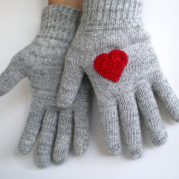 Gray Gloves with Red Hearts, Valentines Day