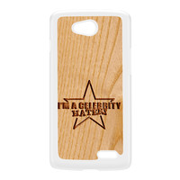 Carved on Wood Effect_Celebrity Hater White Hard Plastic Case for LG L90 by Chargrilled