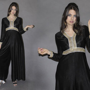 Vintage 70s Black Palazzo Pant Jumpsuit / Gold Silver Metallic, Lurex / Sailor Pant, Wide Leg Romper / Disco, Party / Size Sm Med