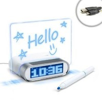 ENHANCE Digital Blue LED Alarm Clock Charging 4 Port USB 2.0 Hub & Glowing Memo Board for Samsung Galaxy S5 , S4 , Samsung Galaxy Note 3 , Note 2 , Galaxy Mega with Bright Blue LED Time / Date / Temp Display - Includes Micro USB Cable