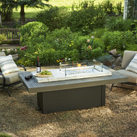 Marbelized White Onyx Gas Fire Pit Coffee Table