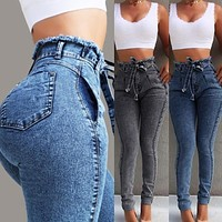 High Waist Jeans Womens Denim Pencil Pants Skinny Jeans
