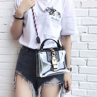 Summer 2017 Transparency Plastic Jelly Crossbody Bags For Women Chains Flap Hasp Lock Luxury Designer Cord Strap Shoulder Bags