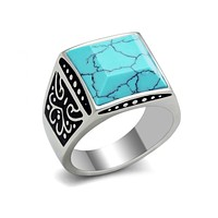 Turquoise Warrior - Stainless Steel Turquoise Ring