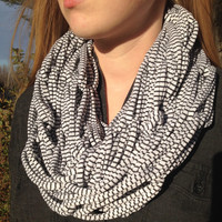 Black and White Striped Jersey Fashion Scarf, Arm Knit Infinity Scarf