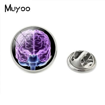 2018 New Fashion Style Jewelry Magical Brain Imagine Lapel Pins Glass Meditating Brain Round Photos Hand Craft Metal Clasp Pins