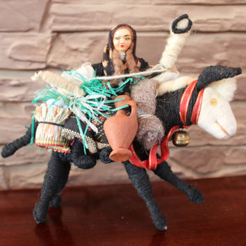 Vintage Handmade Doll With Donkey, Moroccan? Mexican? Folk Art, Nativity Doll, Folklore, Ethnic Figure, Figurine Home Decor