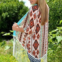 Coyote Tribal & Fringe Long Cardigan - Also in Plus Size :: Gypsy Ranch Boutique