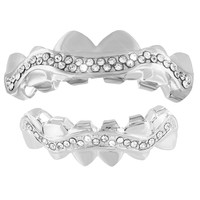 Zig-Zag Design Grillz Top Bottom Set White Gold Finish