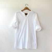 Vintage white tunic. Thin cotton shirt. Mini caftan dress. Dashiki. Modern Minimalist.