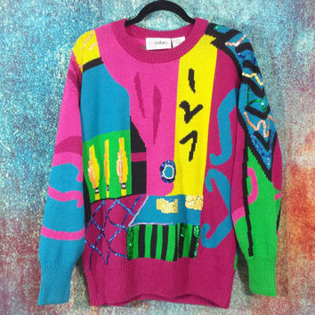 Abstract Sequin Sweater 80s Knit Pullover Beaded Vintage Retro 90s Ugly Baggy Oversized Top Slouchy Geometric Colorful Busy Pattern Medium