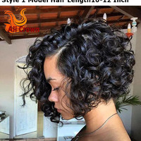 Stock Affordable Full Lace Wigs Human Hair Lace Front Wigs Black Women 8-14 Inch Natural Black U Part Curly Bob Human Hair Wig