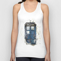 Tardis Watercolour Unisex Tank Top by Abbie :)