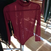 Red see through turtle neck