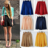 Candy-colored high waist skirts