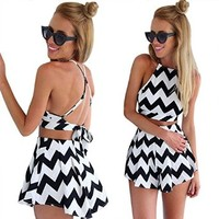 Moxeay® Halter Straps Swing Jumpsuit Crossed Back Playsuit Outfit US Shipping