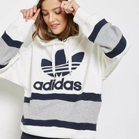 DCCK6HW Adidas' Women Sport Casual Clover Letter Stripe Multicolor Loose Long Sleeve Pullover Hooded Sweater Sweatshirt Tops