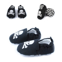 Black Skully Skid-proof First Walkers Shoes
