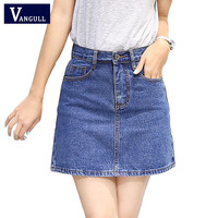 2017 New Summer Style Women Skirt American A-line High Waist Denim Skirts Short Vintage Woman cowgirl Mini Jeans Skirt S-XXXL
