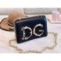 D&G fashion hot seller casual ladies solid color large letter shopping bag shoulder bag Black