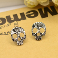 New Fashion jewelry tibetan silver plated skull skeleton studs gift for women girl ladies E2015