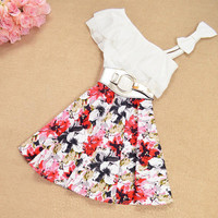 Summer fashion bow  printing dress