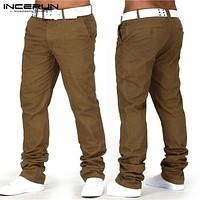 Stylish Hiphop 30-40 Causal Men Chinos Pants Cotton Solid Trousers Straight Pockets Joggers Sweatpants Khaki Black INCERUN Male