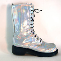 hella 90s.........Tall Silver HOLOGRAM lace up Combat CLUB KID Boots 11