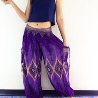 Thai Women Harem Pants Yoga Pants Aladdin Pants Maxi Pants Baggy Pants Gypsy Pants Rayon Pants Clothing Drop Crotch Trouser Violet (TS55)