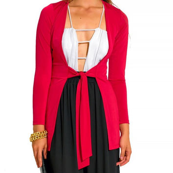 Tie Waist Long Sleeve Slim Fit Cardigan Top in Red