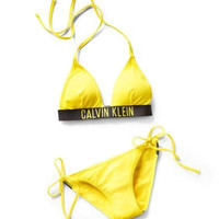 Calvin Klein Halter Triangle Bikini Set - Yellow