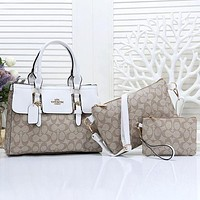 Coach Women Fashion Leather Handbag Crossbody Shoulder Bag Satchel Three Piece Set