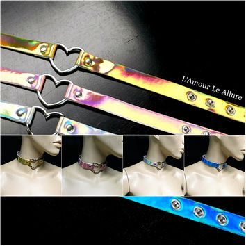 Holographic Heart Choker Necklace