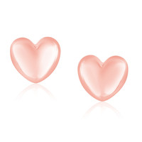 14K Rose Gold Puffed Heart Shape Shiny Earrings